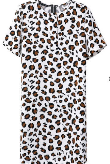 White Short Sleeve Leopard Slim Dress