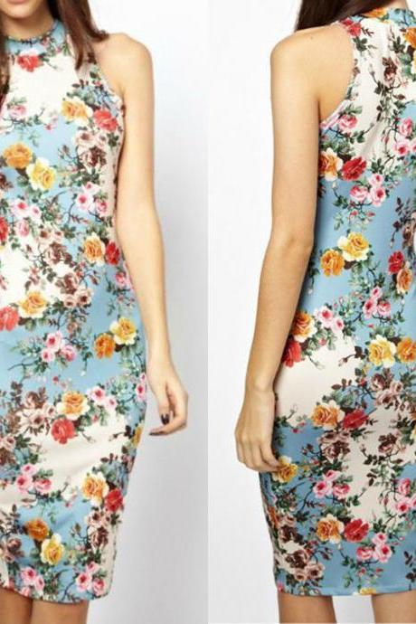 Sexy Women Summer Casual Floral Cocktail Party Bodycon Pencil Midi Dress