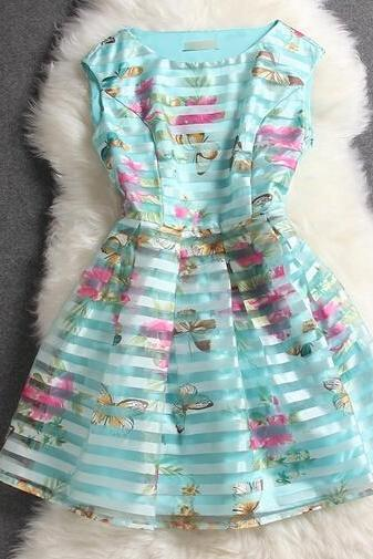 Sexy Organza Butterfly Striped Dress