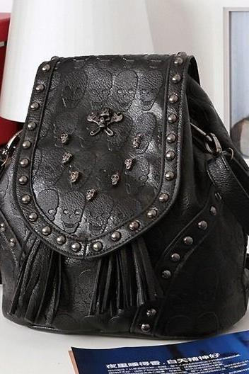 Punk Style Skull Rivet Handbag Backpack Shoulder Bag