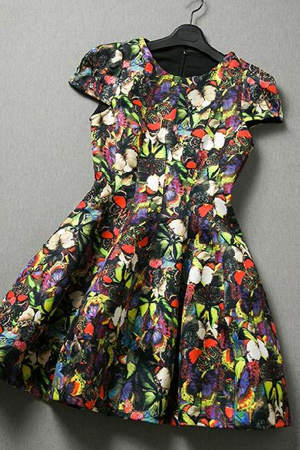 Fashion Butterfly Print Dress CA922EG