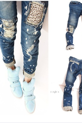 Fashion Women Ladies Casual Leopard Slim Pencil Jeans Pants Trousers Skinny