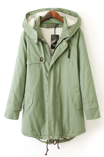 Cheap Celebrity Fashion Long Sleeves Zipper Design Green Hooded Long Trench Coat