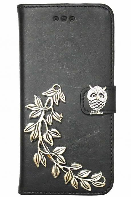 Owl iPhone 6 Wallet case,iphone 6 leather case,iphone 6 Flip Case,Victorian Owl Leaf iPhone 6 PLUS leather wallet case cover Black