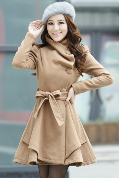 Cheap Sweet Style Turndown Collar Long Sleeves Single-breasted Light Tan Woolen Long Trench Coat