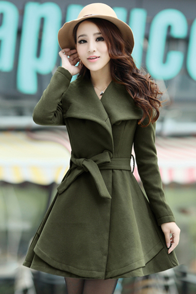 Cheap Sweet Style Turndown Collar Long Sleeves Single-breasted Army Green Woolen Long Trench Coat