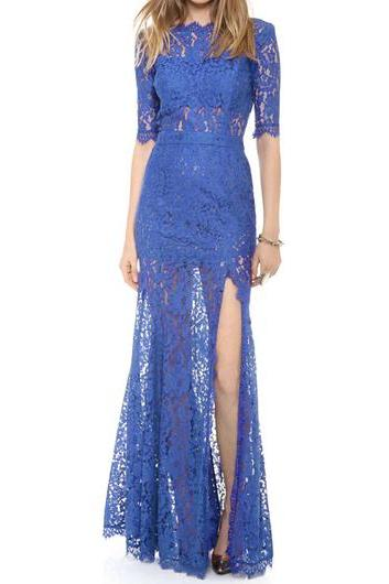 Blue Lace Long Sheath Dress Featuring Half Sleeves, High Slit and Plunging Back