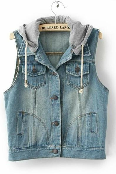 Sleeveless Denim Vest Hooded Jacket #091603AD01