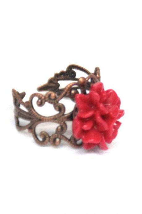Red flower ring adjustable copper ring resin filigree accessories