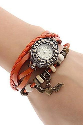 Handmade Vintage Quartz Weave Around Leather Bracelet Lady Woman Wrist Watch With Flying Heart Charm