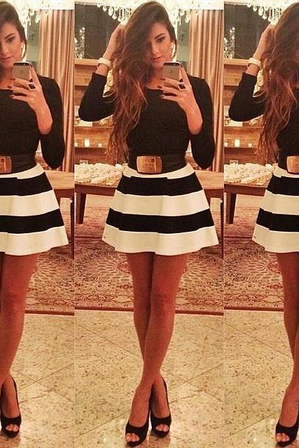 Long Sleeve Striped Dress ZX925A