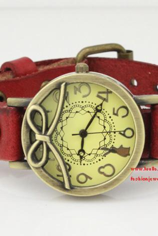 Leather Women Watch -Red Leather Wrist Watch -Bronze Bowknot Watch- Women's Leather Wrist Watch