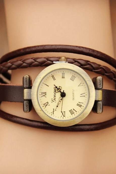 Leather Wrap Watch- Women's Leather Wrist Watch Brown