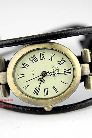Leather Wrap Watch- Women's Leather Wrist Watch Black
