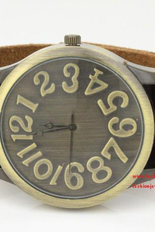 Mens Wrist Watch, fashion steampunk watch, best gift for boyfriend - Leather Wrist Watch Brown