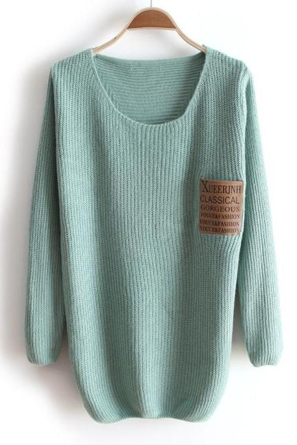 Thick collar loose long-sleeved sweater #092507WT