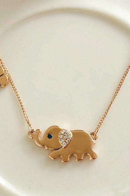 Fashion Cute Rhinestone Elephant Pendant Necklace