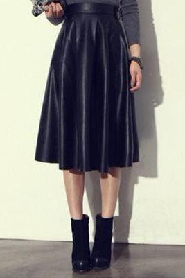 Autumn and Winter Fashion Black Leatherette Skirt