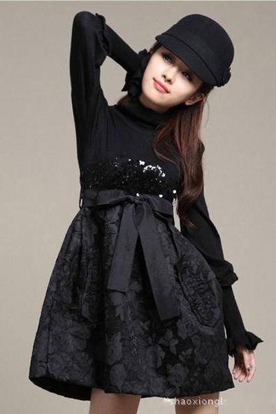Luxury Designer Floral Long Sleeve Dress For Autumn&Winter - Black