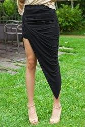 Black Irregular Hem Skirt