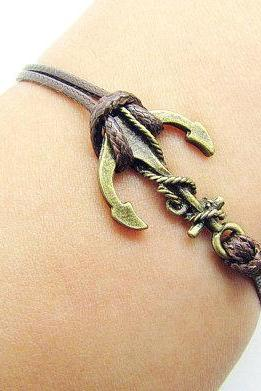 Sales-2PCS Anchor Bracelet Charm Bracelet Bronze Bracelet Brown Wax Cords Brown Leather Charm Bracelet Personalized Bracelet