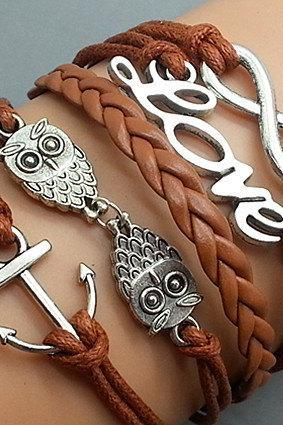 Infinity Love Owls & Anchor Bracelet Charm Bracelet Silver Bracelet Light brown Korean Wax Cords Leather Charm Bracelet Personalized Bracelet