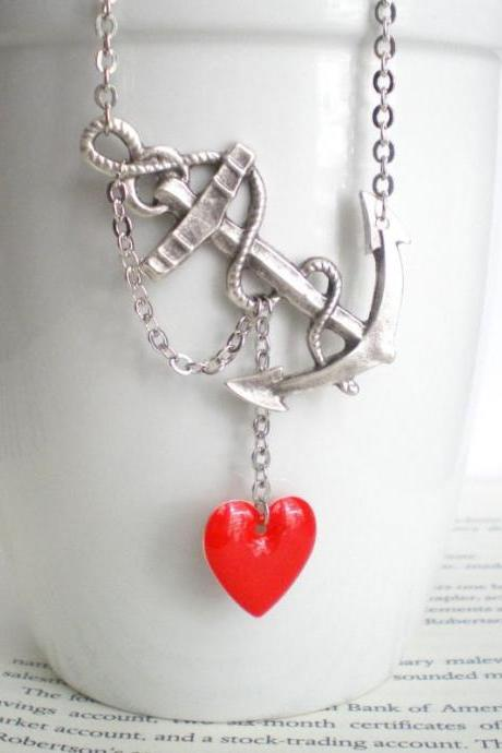 Silver Anchor Necklace - You Anchor My Heart - Navy and Marine Wife Inspired - Best Seller