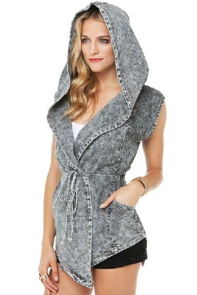 Cheap European Style String Tied Grey Cotton Blend Regular Hooded Vest