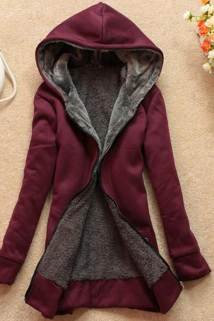 Velvet Long-Sleeved Hooded Sweater Coat