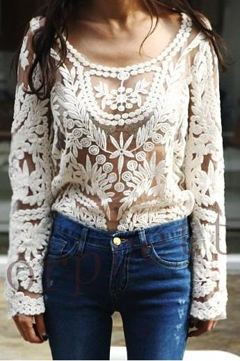 Semi Sheer See Through Sleeve Embroidery Floral Lace Crochet T -Shirt