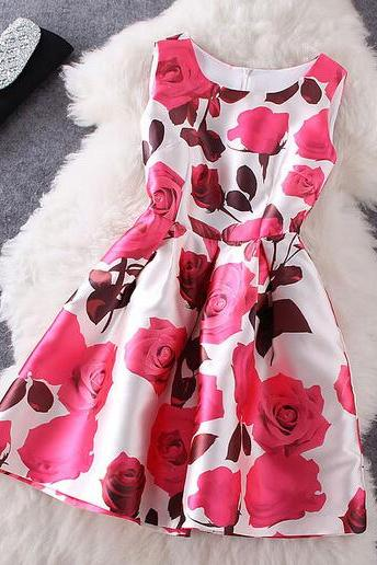 Fashion Rose Printed Sleeveless Dress #092718AD