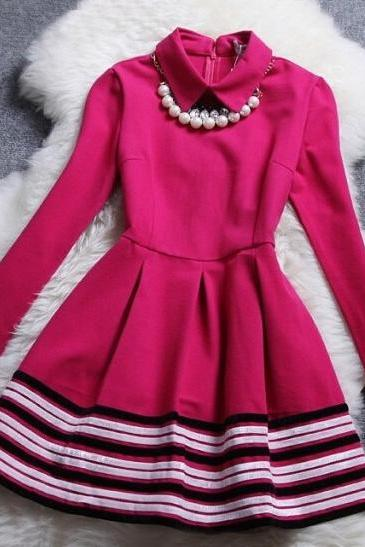 Luxury Necklace Long Sleeve Stripe Dress - Rose