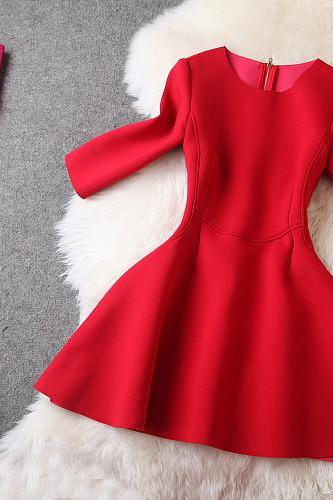 Luxury And Fashion Half Sleeve Dress - Red