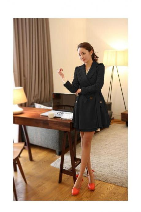 Leisure Paragraph Dust Coat Grows In Loose Plus-Size Coat Dust Coat