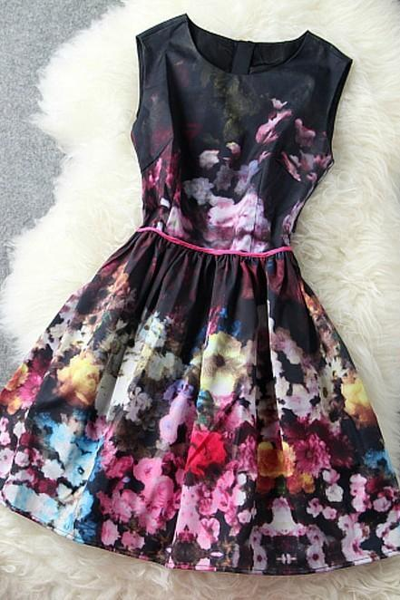 Luxury High-End Retro Sleeveless Vest Skirt Dress