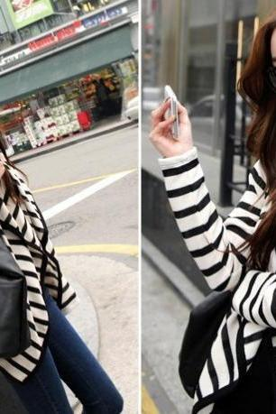 *Free Shipping* Fashion Women Clothing Long Sleeve Striped Peplum Autumn Casual Jacket Tops Cardigan Blouse Novelty S M L