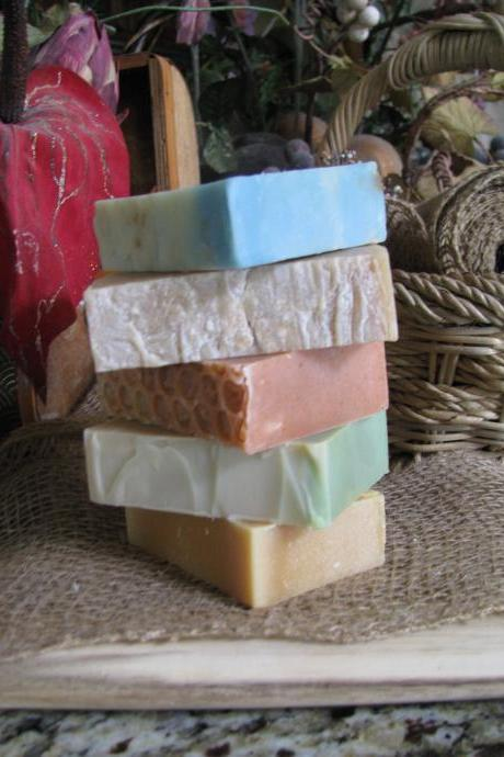 SAVE on 5 LUXURIOUS HANDCRAFTED Cold-Process Soaps ONLY PREMIUM BUTTERS and OILS and Real HONEY