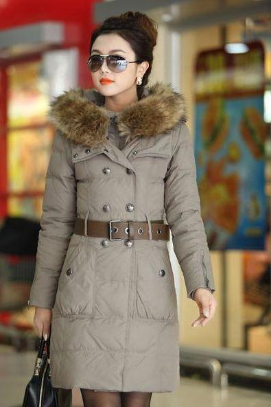 New Elegant Double Breasted Slim Fit Long Light Brown Fur Hoodie