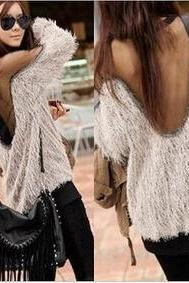 Sexy Women Winter Autumn Faux Fur Sweater Coat Outerwear