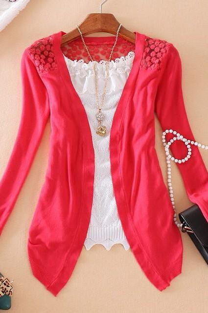 Sexy Women Long Sleeve Lace Knitting Hollow Out Crochet Blouse Sweater