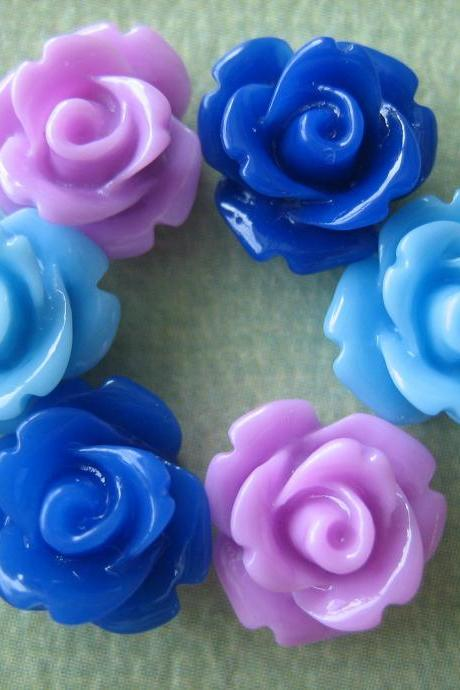 6PCS - Mini Rose Flower Cabochons - 10mm - Resin - Lavender, Light Blue and Dark Blue - Cabochons by ZARDENIA