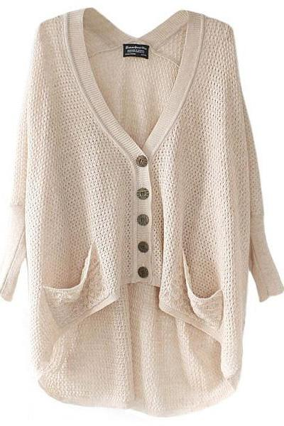 Batwing Sleeves High-low Hem Cardigan
