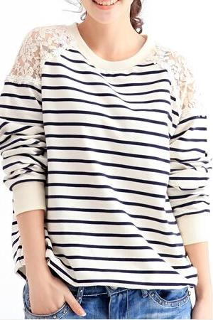Lace Stripe Sweater