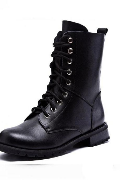 Black Classics Lace Up Leather High Boots