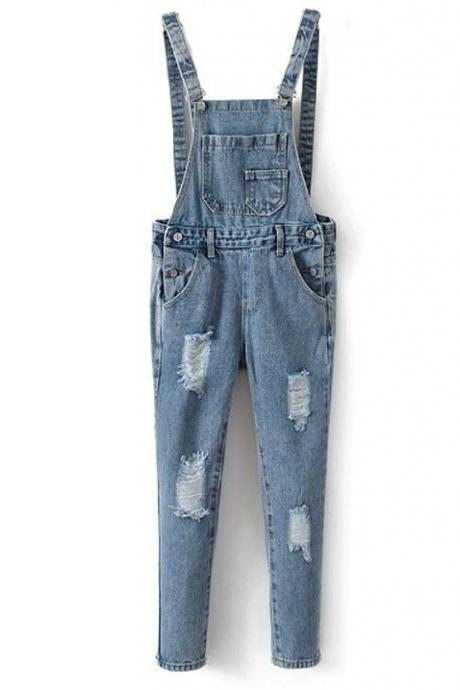 Do The Old Hole Jeans Overalls