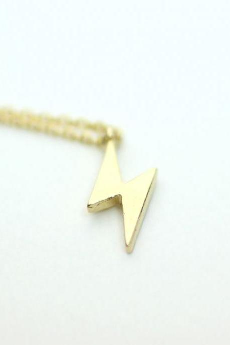 Little lightning Thunder pendant charm Necklace in Gold