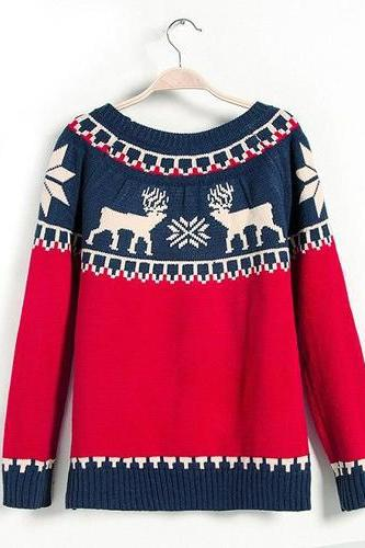 Cute Moose Sweater Soft Comfortable Sweaters