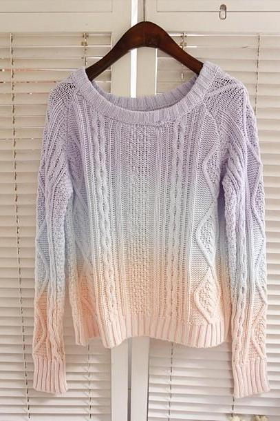Strip Jumper Sweater Ice Cream Candy Jumper Ombre Sweaters Vintage Women Striped Sweater Knit Shirt