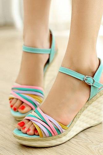 Mixed Color Peep-Toe Plaid High Wedge Heel Platform Sandal