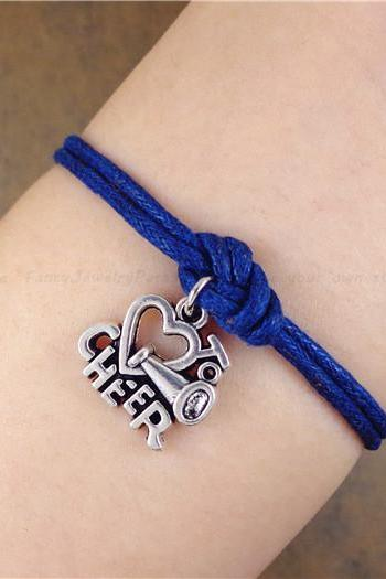 Love To Cheer Bracelet, Navy Blue Bracelet, Birthday Gift, Christmas Gift